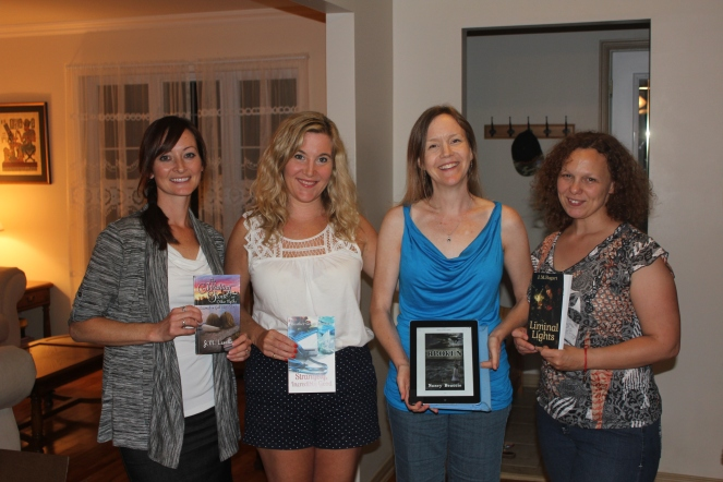 L-R JM Lavallee, Heather Grace Stewart, Nancy Beattie, Jennifer Bogart - Morning Rain Publishing Authors who sat down and Wrote It!